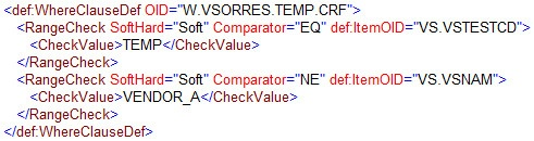 Where Clause code Example - value from CRF